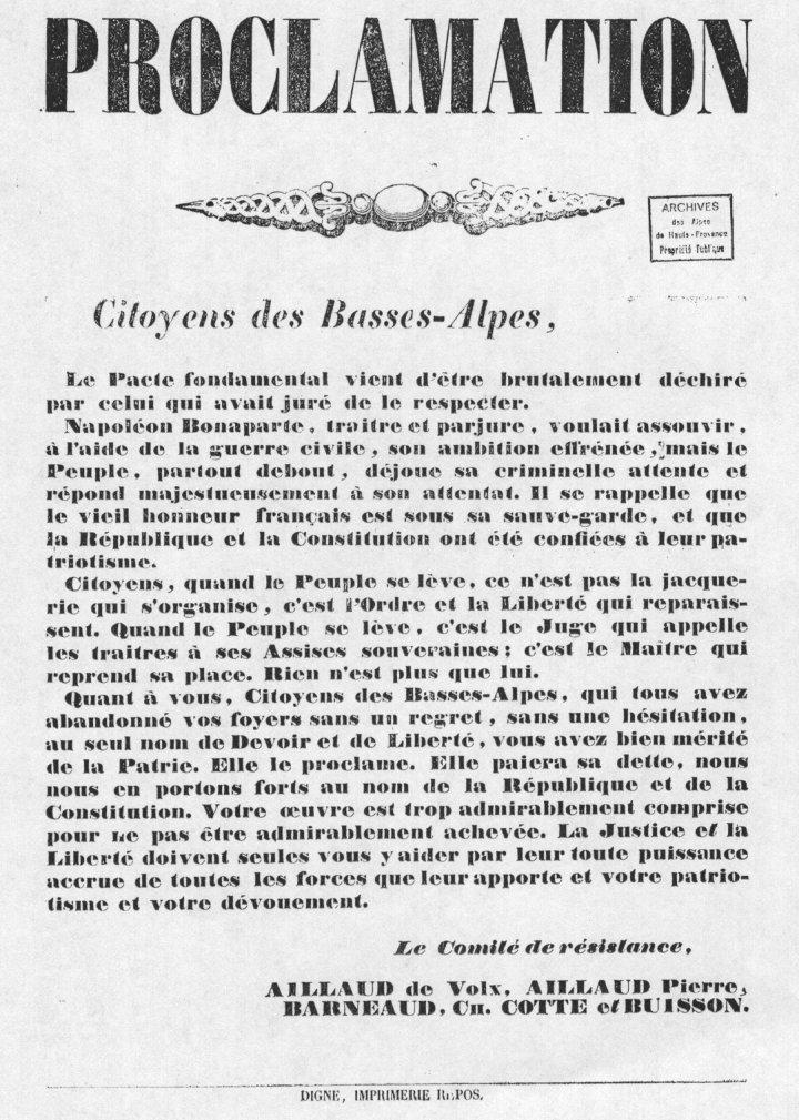 Appel du Comité de Résistance des Basses Alpes.