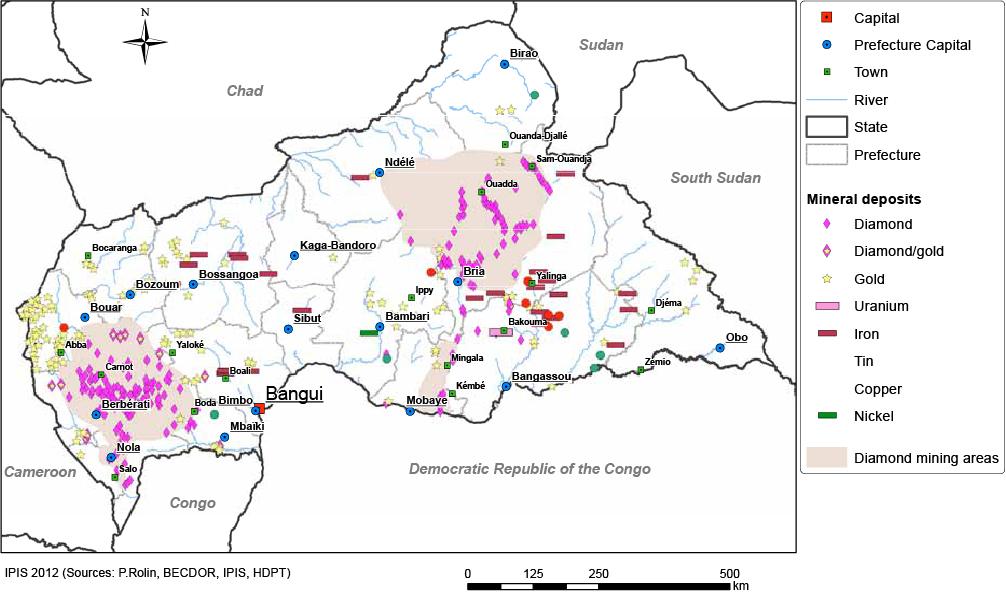 Carte des gîtes miniers de RCA publiée par IPIS en 2012
