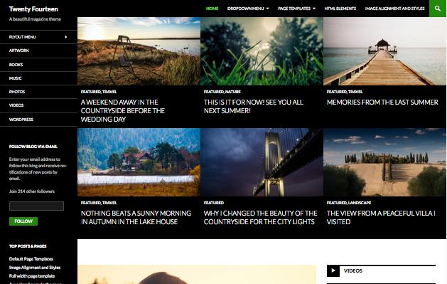 Démonstration de Twenty Fourteen, nouveau thème tout en images de WordPress pour 2014.