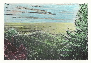 Plaine d'Alsace vue du Haut-Koenigsbourg. Retouche d'image et crayons de couleurs. Cliché Sophie Clairet, 29 décembre 2015.