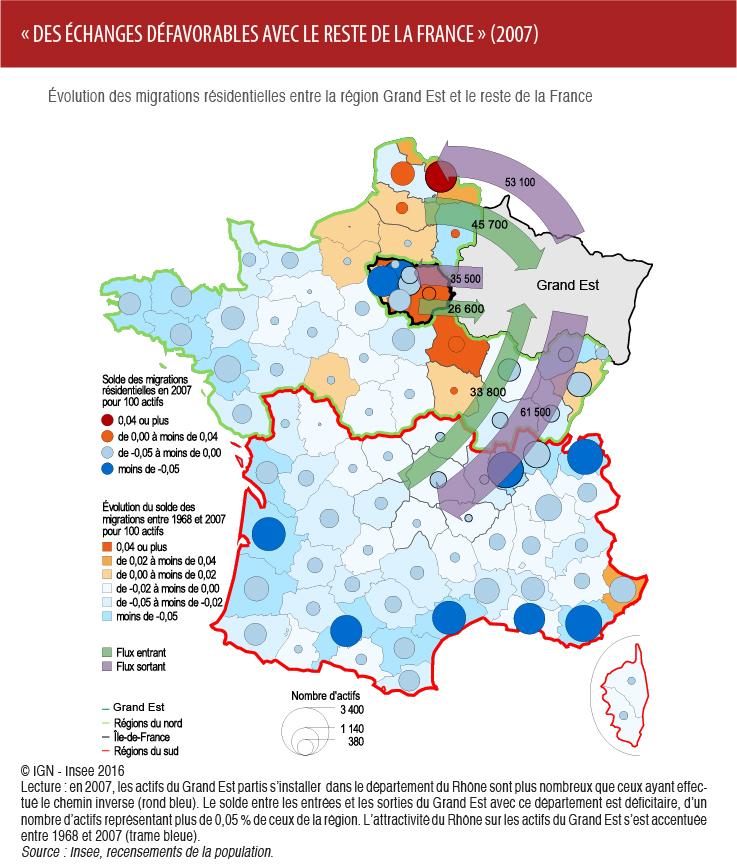 Carte issue de la publication de l'INSEE, Un attrait des actifs pour les régions du sud de plus en plus fort, octobre 2016.