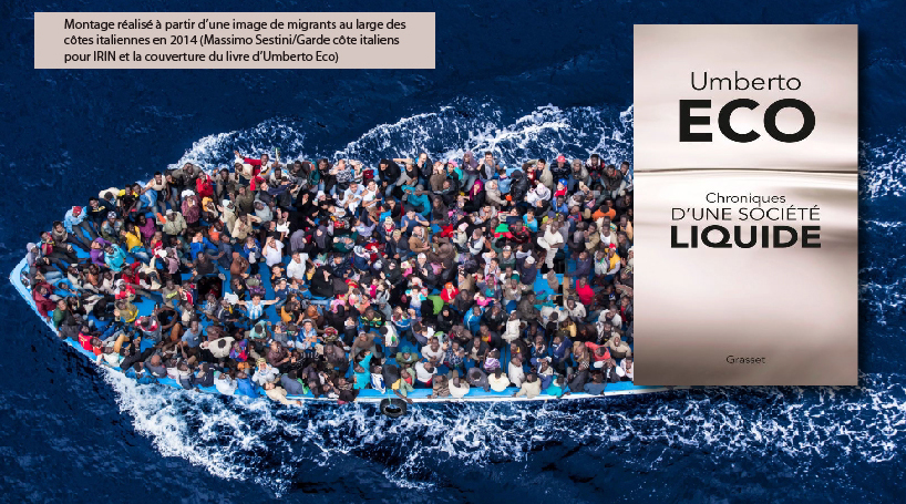 Montage de photographie de migrants et de la couverture d'Umberto Eco